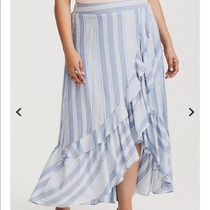 Torrid Blue & White Stripe Faux Wrap Maxi Skirt